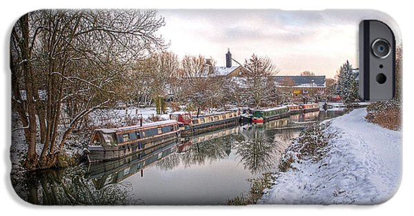 Wintertime iPhone Cases - Winter Reflections on the River iPhone Case by Gill Billington