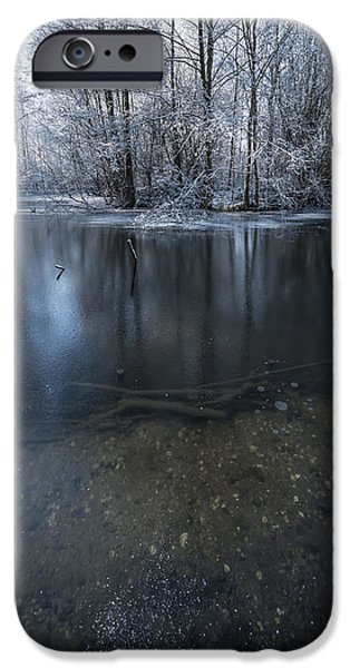 Snowy Stream iPhone Cases - Winter Reflections iPhone Case by Svetlana Sewell