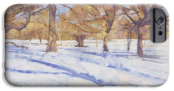 Snow iPhone Cases - Winter, Richmond Park Oil On Canvas iPhone Case by Christopher Glanville