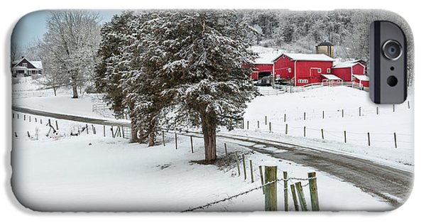 Connecticut Farm iPhone Cases - Winter Road iPhone Case by Bill  Wakeley