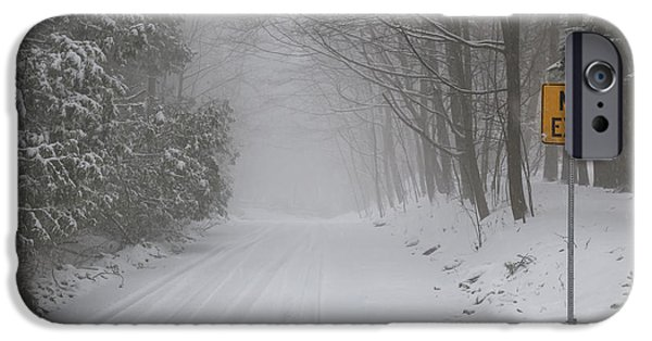 Condition iPhone Cases - Winter road during snow storm iPhone Case by Elena Elisseeva
