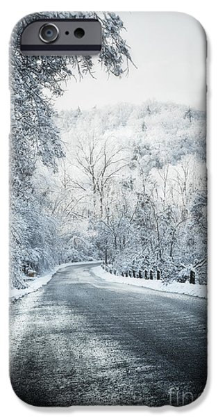 Frigid iPhone Cases - Winter road in forest iPhone Case by Elena Elisseeva