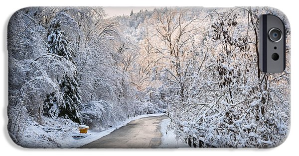 Winter Storm iPhone Cases - Winter road in snowy forest iPhone Case by Elena Elisseeva