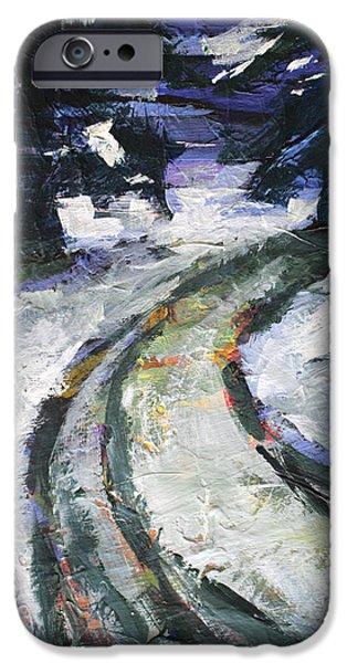 Winter Storm iPhone Cases - Winter Road iPhone Case by Nancy Merkle