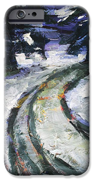 Winter Storm Paintings iPhone Cases - Winter Road iPhone Case by Nancy Merkle