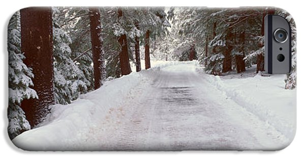 Snowscape iPhone Cases - Winter Road Near Lake Tahoe, California iPhone Case by Panoramic Images