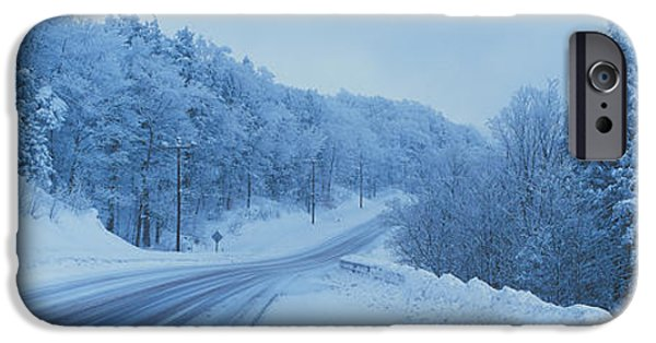 Winter Roads iPhone Cases - Winter Road Nh Usa iPhone Case by Panoramic Images