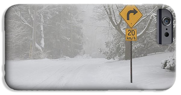 Condition iPhone Cases - Winter road with yellow sign iPhone Case by Elena Elisseeva