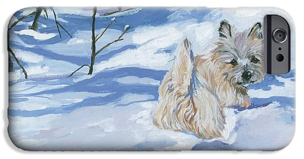 Dogs In Snow. Paintings iPhone Cases - Winter Romp iPhone Case by Molly Poole