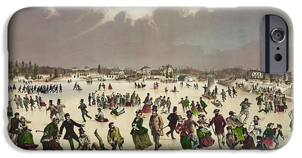 People Drawings iPhone Cases - Winter scene circa 1859 iPhone Case by Aged Pixel