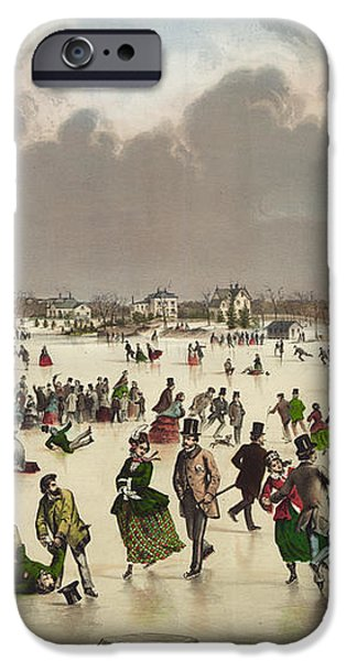Winter scene circa 1859 iPhone Case by Aged Pixel
