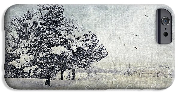 Snow Scene Digital iPhone Cases - Winter Scene Greeting Card iPhone Case by Julie Palencia