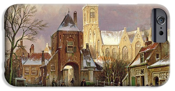Horse And Cart iPhone Cases - Winter Scene In Amsterdam iPhone Case by Willem Koekkoek