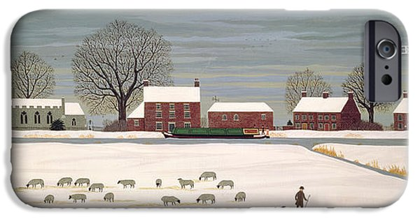 Winter Scene iPhone Cases - Winter Scene in Lincolnshire iPhone Case by Vincent Haddelsey