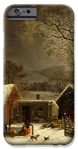 Winter Scene in New Haven Connecticut 1858 by Durrie iPhone Case by Movie Poster Prints