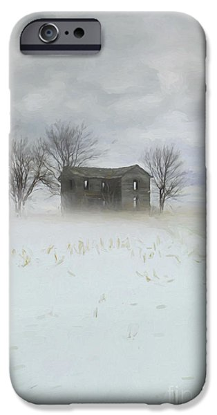 House Digital iPhone Cases - Winter scene of a farmhouse/Digital Painting iPhone Case by Sandra Cunningham