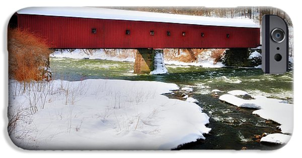 Kent Connecticut iPhone Cases - Winter Scene-West Cornwall Covered Bridge iPhone Case by Thomas Schoeller