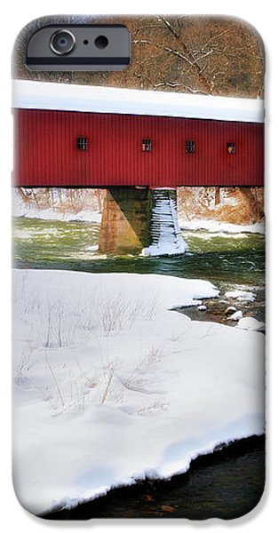 Winter Scene-West Cornwall Covered Bridge iPhone Case by Thomas Schoeller