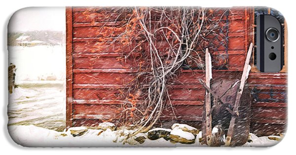 Berry Digital iPhone Cases - Winter scene with barn and wheelbarrow/ Digital Painting  iPhone Case by Sandra Cunningham