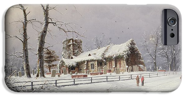 Rural Snow Scenes iPhone Cases - Winter Scene with Figures on a Path near a Church iPhone Case by Nils Hans Christiansen