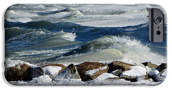 Harbor Sesuit Harbor iPhone Cases - Winter Seascape iPhone Case by Dianne Cowen