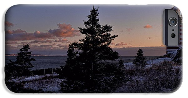 East Quoddy Lighthouse iPhone Cases - Winter Sentinel Lighthouse iPhone Case by Marty Saccone