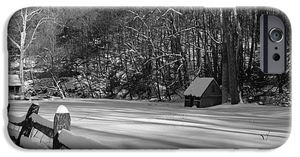 Grist Mill iPhone Cases - Winter Shack in Black and White iPhone Case by Paul Ward