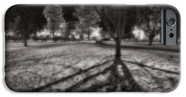 Groundhog iPhone Cases - Winter Shadows And Xmas Lights iPhone Case by Sven Brogren