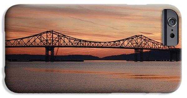 Hudson River iPhone Cases - Winter Sky Over Tappan Zee Bridge iPhone Case by John Telfer