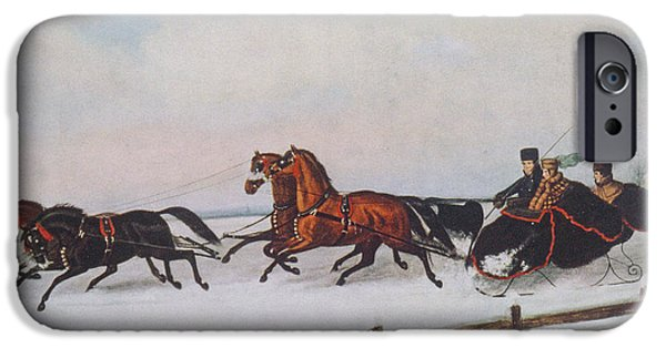 Carriages iPhone Cases - Winter Sleigh iPhone Case by Cornelius Krieghoff
