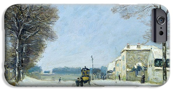 Impressionist Photographs iPhone Cases - Winter, Snow Effect, 1876 Oil On Canvas iPhone Case by Alfred Sisley