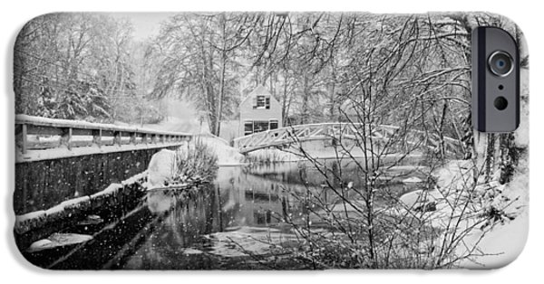 Winter Weather iPhone Cases - Winter Snow Storm In Somesville Maine iPhone Case by Keith Webber Jr