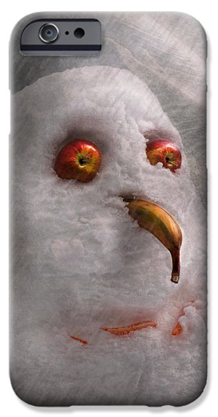 Winter - Snowman - What are you looking at iPhone Case by Mike Savad