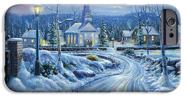 Snowy Night Mixed Media iPhone Cases - Winter Solitude iPhone Case by Raymond Sipos