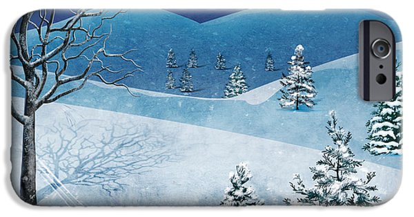 Christmas Greeting iPhone Cases - Winter Solstice iPhone Case by Bedros Awak