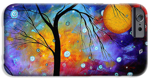 Contemporary Fine Art iPhone Cases - WINTER SPARKLE Original MADART Painting iPhone Case by Megan Duncanson