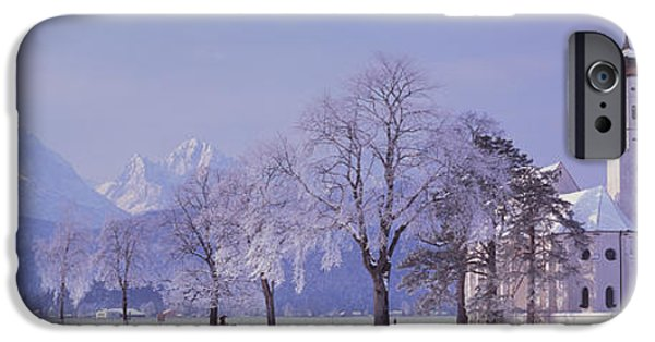 Grey Clouds Photographs iPhone Cases - Winter St Coloman Church Schwangau iPhone Case by Panoramic Images