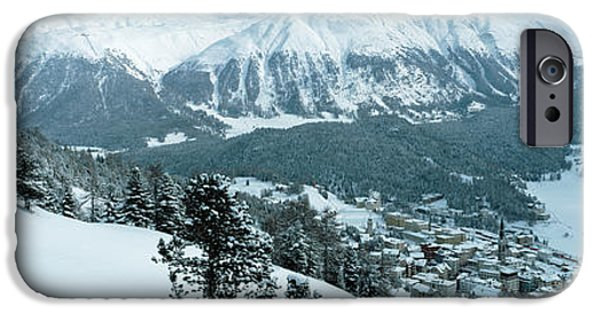 Snowy Day iPhone Cases - Winter, St Moritz, Switzerland iPhone Case by Panoramic Images