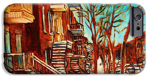 Montreal Artist Paints Verdun Street Scenes iPhone Cases - Winter Staircase iPhone Case by Carole Spandau