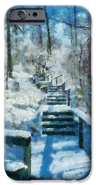 Michelle iPhone Cases - Winter Stairway iPhone Case by Michelle Calkins