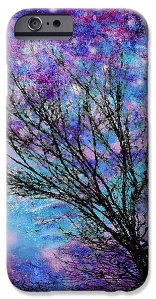 Winter Starry Night Square iPhone Case by Ann Powell