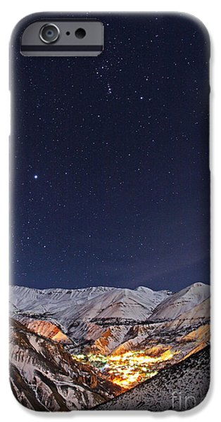 Snowy Night iPhone Cases - Winter Stars Over Iranian Village iPhone Case by Babak Tafreshi