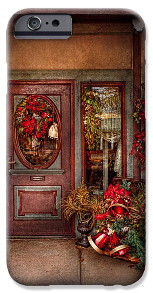 Winter - Store - Metuchen NJ - Dressed for the holidays iPhone Case by Mike Savad