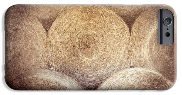Haybale Digital Art iPhone Cases - Winter Storehouse iPhone Case by Carolyn Marshall