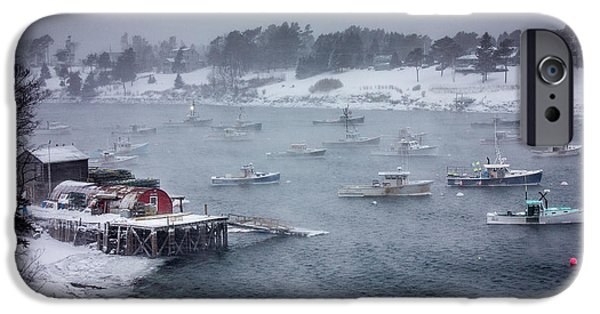 Bailey Island iPhone Cases - Winter Storm on Mackerel Cove iPhone Case by Benjamin Williamson