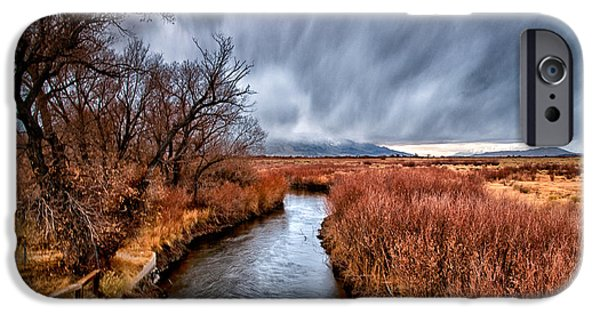 River iPhone Cases - Winter Storm over Owens River iPhone Case by Cat Connor