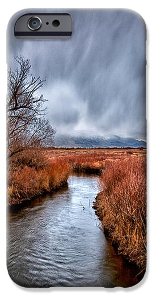 Winter Storm over Owens River iPhone Case by Cat Connor
