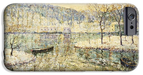 Snowy Day iPhone Cases - Winter Stream iPhone Case by Ernest Lawson