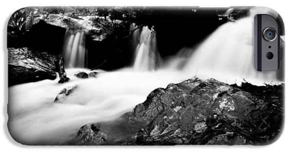 Oak Creek iPhone Cases - Winter Stream In Monochrome iPhone Case by Parker Cunningham