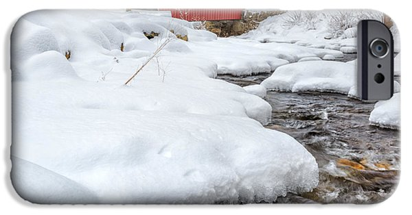 New England Snow Scene iPhone Cases - Winter Stream Square iPhone Case by Bill  Wakeley
